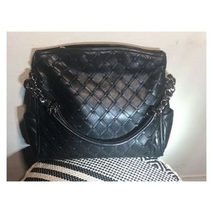 Chanel black soft leather woven hobo shoulder bag